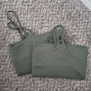 Time and Tru- 2 Tank Tops-Forest Green